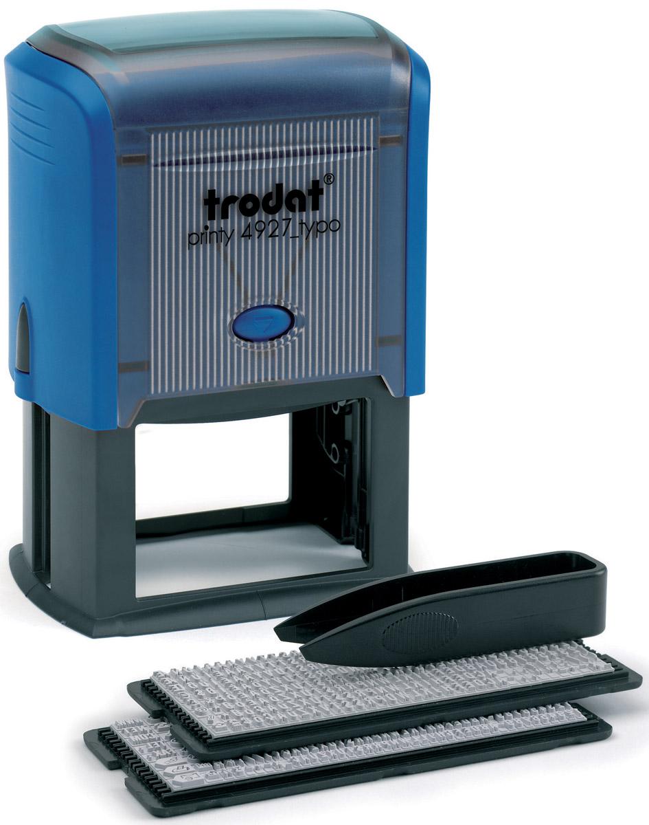 Trodat Штамп самонаборный восьмистрочный Typo 60 х 40 мм4927/DBСамонаборный русифицированный штамп Trodat с автоматическим окрашиванием будет незаменим в отделе кадров или в бухгалтерии любой компании. Прочный пластиковый корпус гарантирует долговечное бесперебойное использование. Модель отличается высочайшим удобством в использовании и оптимально ложится в руку благодаря эргономичной ручке. Оттиск проставляется практически бесшумно, легким нажатием руки. Улучшенная конструкция и видимая площадь печати гарантируют качество и точность оттиска. Символы надежно закрепляются в текстовой пластине (две ножки).Максимальное количество знаков в строке основного шрифта - 36, шрифта для выделения текста - 25. Максимальное количество строк - 6 + дата. Месяц буквами. Язык - русский.Модель оснащена кнопочным механизмом замены подушки. Сменную штемпельную подушку необходимо заменять при каждом изменении текста.В комплект также входят: сменная подушка, пинцет, 2 кассы символов.Trodat - идеальный штамп для ежедневного использования в офисе, гарантирующий получение чистых и четких оттисков. Идеально подходит к самым разным требованиям в повседневной офисной жизни.