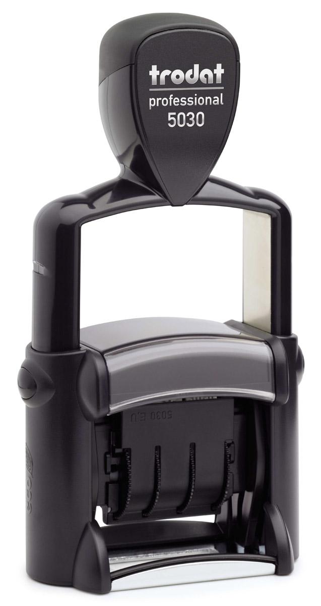 Trodat Датер однострочный русифицированный 4 мм5030Однострочный русифицированный датер Trodat с буквенным отображением месяца будет незаменим в отделе кадров или в бухгалтерии любой компании.Прочный пластиковый корпус с металлическими деталями гарантирует долговечное бесперебойное использование. Модель отличается высочайшим удобством в использовании и оптимально ложится в руку благодаря эргономичной ручке. Оттиск проставляется практически бесшумно, легким нажатием руки. Улучшенная конструкция, защитное покрытие лент и видимая площадь печати гарантируют качество и точность оттиска.Надежное покрытие ленты с датой предотвращает контакт пальцев с краской, сохраняя ваши пальцы чистыми.Также в комплект входит подушечка для штампов. Высота шрифта - 4 мм.Trodat - идеальный штамп для ежедневного использования в офисе, гарантирующий получение чистых и четких оттисков. Идеально подходит к самым разным требованиям в повседневной офисной жизни.