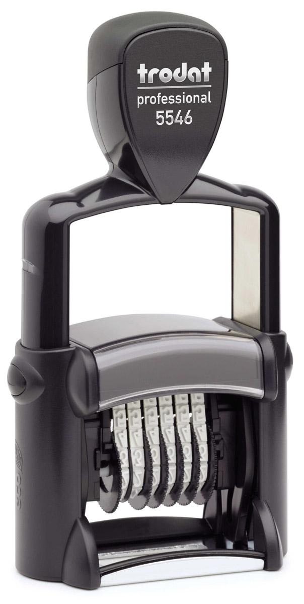 Trodat Нумератор шестиразрядный цвет черный 4 мм5546Однострочный шестиразрядный нумератор с автоматической оснасткой Trodat будет незаменим в отделе кадров или в бухгалтерии любой компании.Компактный, но прочный металлический корпус гарантирует долговечное бесперебойное использование. Модель отличается высочайшим удобством в использовании и оптимально ложится в руку благодаря эргономичной ручке. Высота шрифта - 4 мм. Используется для нумерации документов, проставления артикулов на товарах.Номер устанавливается вручную с помощью колесиков.