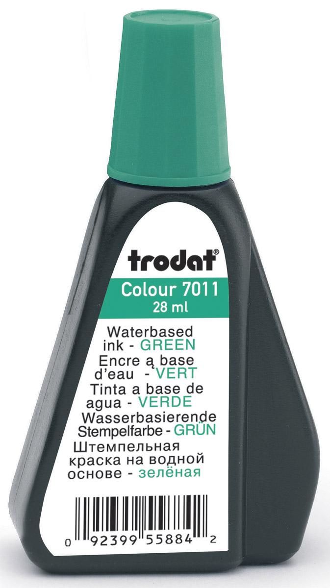 Trodat Штемпельная краска зеленая 28 мл7011зШтемпельная краска на водной основе Trodat используется для всех видов бумаги, кроме глянцевой. Флакон снабжен дозатором, обеспечивающим равномерное нанесение краски на подушку. Не содержит спирт, не портит печати из полимера.Объем флакона - 28 мл.Цвет - зеленый.