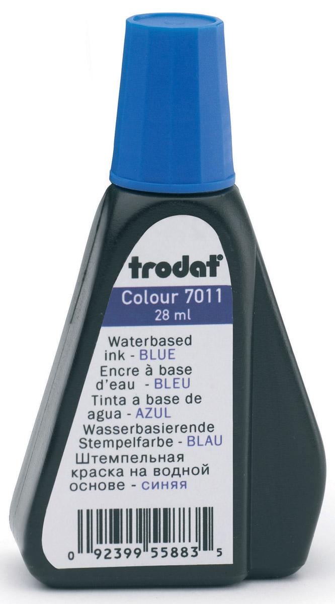 Trodat Штемпельная краска синяя 28 мл7011сШтемпельная краска на водной основе Trodat используется для всех видов бумаги, кроме глянцевой. Флакон снабжен дозатором, обеспечивающим равномерное нанесение краски на подушку.Не содержит спирт, не портит печати из полимера. Объем флакона - 28 мл.Цвет - синий.