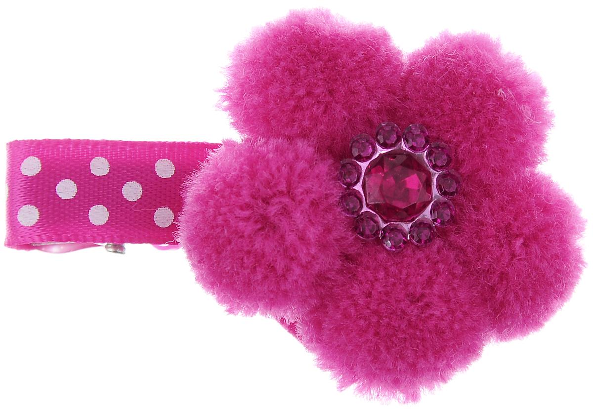 Заколка для животных Каскад Меховой цветок, цвет: фуксия, белый, 4 х 3 см игрушка для животных каскад удочка с микки маусом 47 см