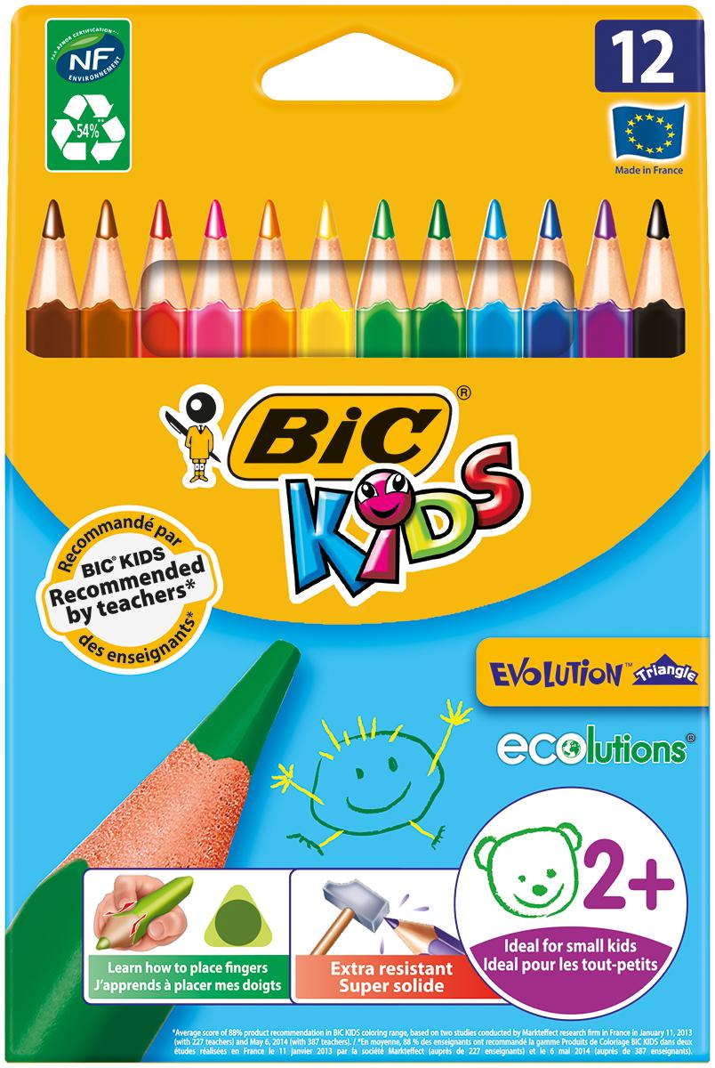 Bic Набор цветных трехгранных карандашей Evolution 12 цветов цветные карандаши bic kids evolution в металлической упаковке 12 шт
