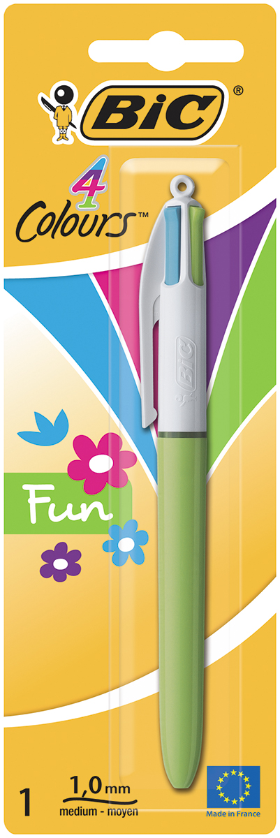 Bic Ручка шариковая Colours Fun 4 в 1 цвет корпуса салатовый тайтсы для бега женские asics fuzex 7 8 tight цвет синий 141260 1194 размер xl 50 52