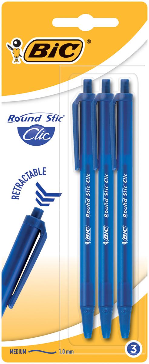 Bic Набор шариковых ручек Round Stick Click цвет чернил синий 3 шт stick n click для девочек наша сладость