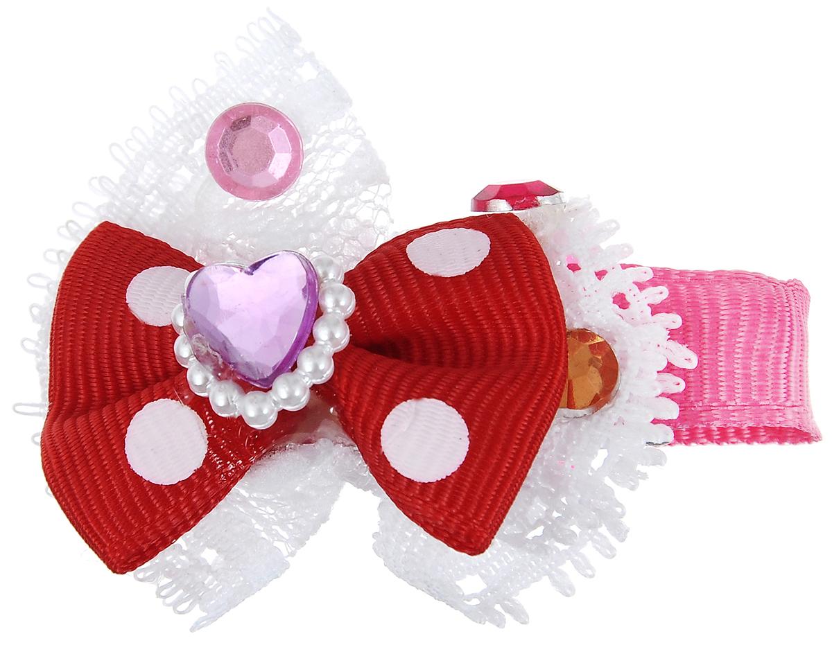 Заколка для животных Каскад Бант, с сердечком, цвет: красный, розовый, белый, 6 х 4 см зажимы bizon заколка