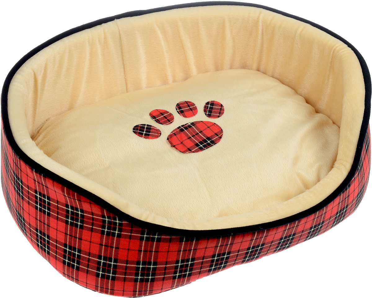 Лежак для животных Каскад Клетка. №2, цвет: красный, бежевый, черный, 46 х 37 х 17 см игрушка для животных каскад удочка с микки маусом 47 см