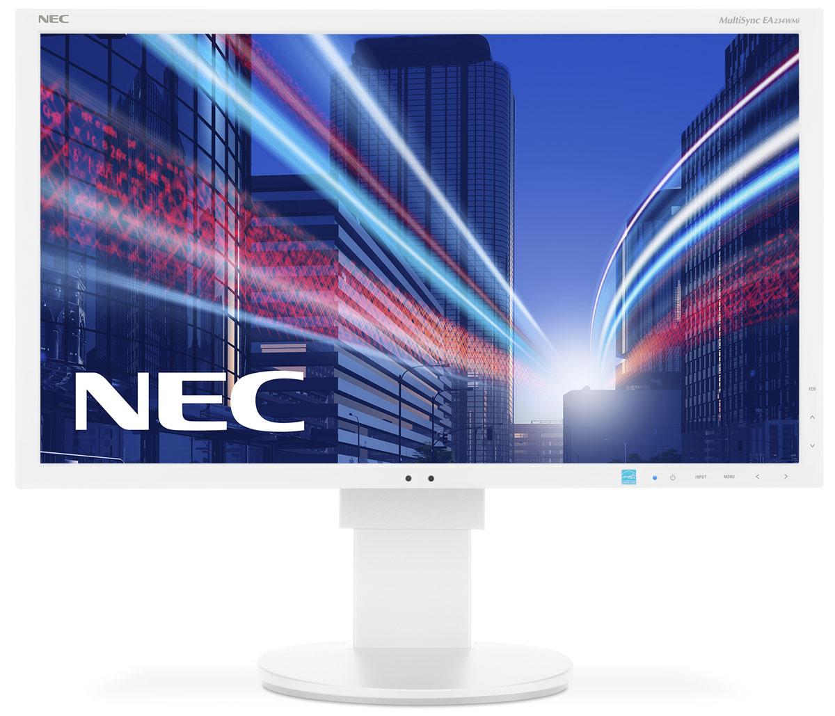 NEC EA234WMi, White мониторEA234WMiМонитор NEC EA234WMi обладает очень тонкой панелью со светодиодной подсветкой и IPS-технологией, чтообеспечивает ультрасовременный и ультратонкий дизайн в сочетании с характеристиками, идеальными длякорпоративного офисного использования.Датчик рассеянного света и датчик присутствия являются стандартными характеристиками данной модели, крометого, модель обладает улучшенными эргономическими характеристиками, например, механизмом регулированиявысоты до 130 мм. Дисплей также располагает широкими возможностями соединения, 3 входами: DisplayPort, DVI-D иD-Sub. Благодаря превосходному качеству изображения IPS с широким углом обзора в формате экрана 16:9данная модель обладает высоким уровнем эргономического комфорта.Датчик рассеянного света - благодаря функции автоматической яркости Auto Brightness всегда можнооптимизировать уровень яркости в зависимости от освещения и условий изображения. Датчик присутствия человека - определяет присутствие человека перед экраном и автоматически включаетили выключает экран для экономии электроэнергии. Идеальный набор функциональных возможностей для офисной эксплуатации Встроенные динамики, гнездо для подключения наушников и USB-хаб обеспечивают отличные опции дляофисной коммуникации. Изменение высоты экрана: 130 мм. Углы наклона монитора -5° - 30°. Углы поворота относительно подставки: ±170°.