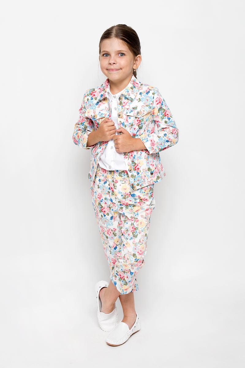 Жакет для девочки Finn Flare Kids, цвет: белый, мультиколор. KS16-71001B. Размер 110, 4-5 лет