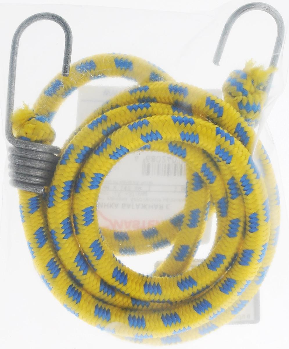 Резинка багажная МастерПроф, с крючками, цвет: желтый, синий, 1 х 140 смKGB GX-5RSБагажная резинка МастерПроф, выполненная изсинтетического каучука, оснащена специальнымиметаллическими крюками, которые обеспечиваютпрочное крепление и не допускают смещения груза вовремя его перевозки.Изделие применяется для закрепления предметов кбагажнику. Такая резинка позволит зафиксировать какнебольшой груз, так и довольно габаритный. Температура использования: -15°C до +50°C. Безопасное удлинение: 60%. Толщина резинки: 1 см. Длина резинки: 140 см.
