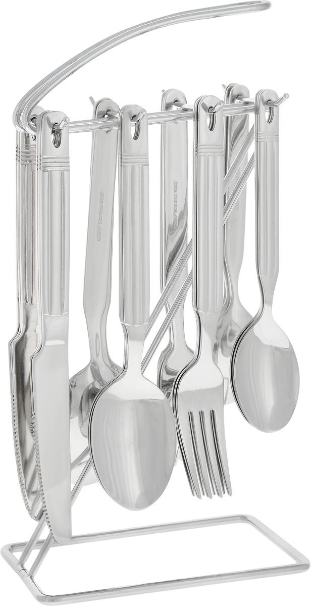 """Набор """"Calve"""" состоит из 25 предметов: 6 обеденных ножей, 6 обеденных ложек, 6 обеденных вилок, 6 чайных ложек и подставки. Изделия, выполненные из высококачественной нержавеющей стали, расположены на оригинальной подставке, оснащенной эргономичной ручкой для удобной переноски. Прекрасное сочетание свежего дизайна и удобство использования предметов набора придется по душе каждому. Набор столовых приборов """"Calve"""" подойдет для сервировки стола как дома, так и на даче и всегда будет важной частью трапезы, а также станет замечательным подарком.Можно мыть в посудомоечной машине. Длина столовой ложки/вилки: 19,5 см. Размер рабочей части столовой ложки: 6,5 х 4,3 см. Размер рабочей части столовой вилки: 6,5 х 2,5 см. Длина чайной ложки: 16,5 см. Размер рабочей поверхности чайной ложки: 5,5 х 3,5 см. Длина ножа: 20,8 см. Размер подставки: 14 х 8,3 х 28 см."""