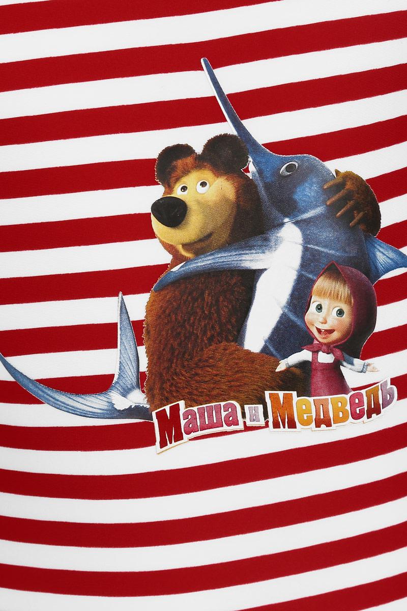 Купальник для девочки Lowry Маша и Медведь, цвет:  красный, белый.  GSS-3.  Размер L (122/128) Lowry