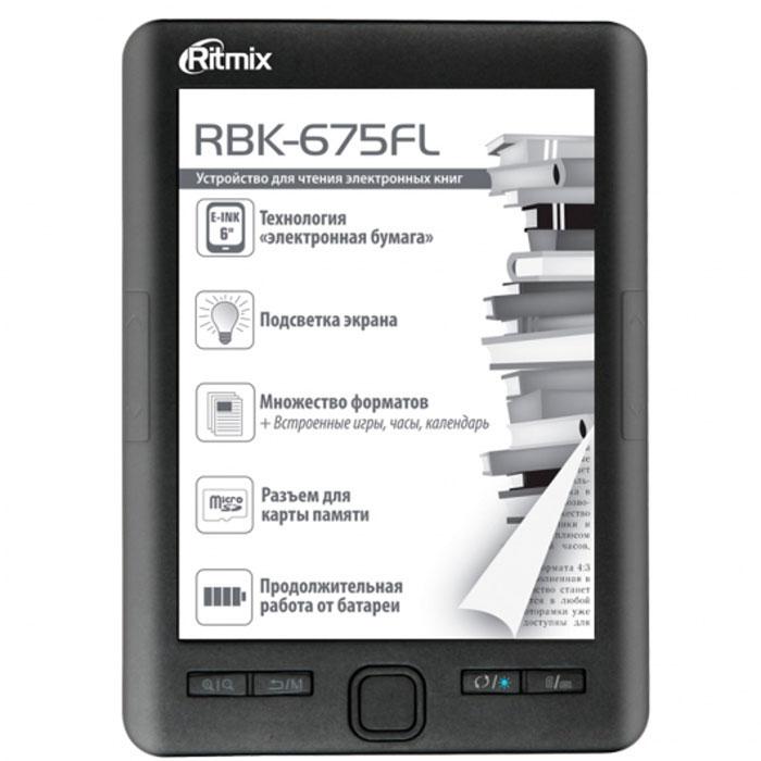 Ritmix RBK-675FL электронная книга15118283Ritmix RBK-675FL станет идеальной находкой для тех, кто предпочитает активный образ жизни. Благодаря малому весу ридер не займет много места даже в самой миниатюрной дамской сумочке, что позволяет брать его с собой куда угодно.Ritmix RBK-675FL станет верным спутником для тех, кто предпочитает активный образ жизни. Любители читать в транспорте, на прогулке в парке, в кафе или во время путешествий по достоинству оценят его компактный размер и удобное управление.Устройство помещается в маленькую сумку или даже в карман, а практичное расположение функциональных клавиш позволяет полноценно управлять устройством даже одной рукой.Одного заряда батареи Ritmix RBK-675FL обеспечивает до месяца активного чтения. 4 Гб встроенной памяти + разъем для карты памяти до 32 Гб - это целая библиотека, которая всегда под рукой!