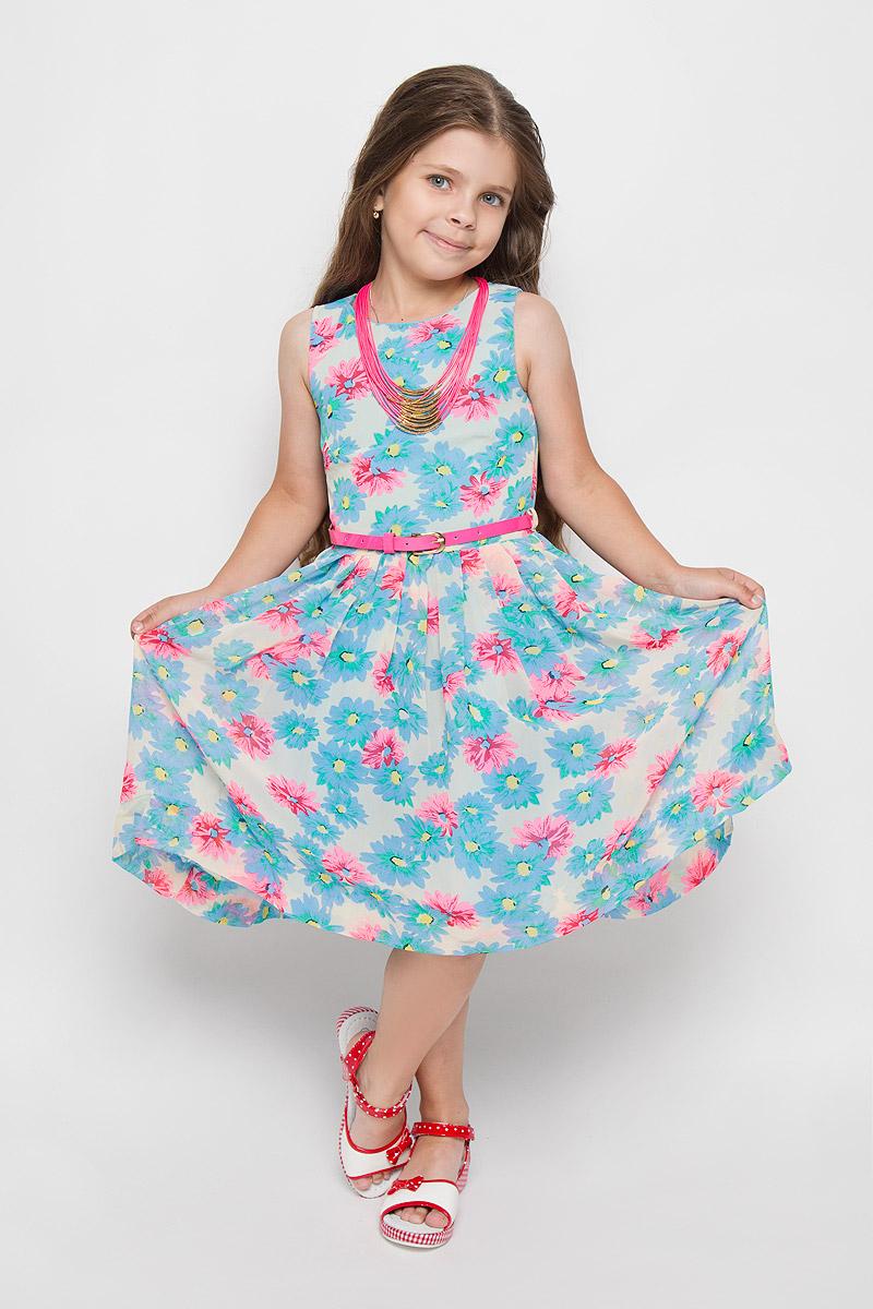 Платье для девочки Nota Bene, цвет: голубой, розовый. SS162G282-10. Размер 128SS162G282-10Красивое платье для девочки Nota Bene идеально подойдет вашей маленькой моднице. Верх платья выполнен из легкой полупрозрачной ткани. На модели предусмотрена подкладка, изготовленная из хлопка с добавлением полиэстера. Платье легкое и воздушное, не стесняет движений и хорошо вентилируется. Платье с круглым вырезом горловины застегивается по спинке на скрытую молнию, что помогает при переодевании ребенка. Линию талии подчеркивает ремешок на шлевках. От линии талии заложены складочки. На подъюбнике предусмотрена оборка из сетки, придающая объем. Изделие оформлено цветочным принтом. Обладательница такого платья всегда будет в центре внимания!В комплект входит яркий аксессуар в виде колье.