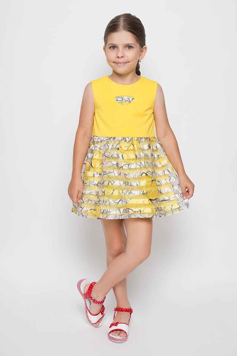 Платье для девочки Nota Bene, цвет: желтый. SSP1640-2. Размер 116SSP1640-2Яркое платье для девочки Nota Bene идеально подойдет вашей маленькой моднице. Верх платья выполнен из мягкой эластичной ткани, юбка - из легкой полупрозрачной. На модели предусмотрена подкладка, изготовленная из натурального хлопка. Платье не стесняет движений и хорошо вентилируется. Платье с круглым вырезом горловины застегивается по спинке на скрытую молнию, что помогает при переодевании ребенка. От линии талии заложены складочки, придающие изделию воздушность и пышность. Изделие оформлено принтом в полоску и украшено ярким изображением бабочек. В таком платье ваша маленькая принцесса будет чувствовать себя комфортно, уютно и всегда будет в центре внимания!