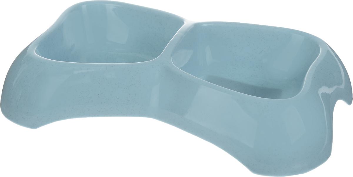 Миска для животных Каскад, двойная, цвет: серо-голубой, 400 мл. 8301707