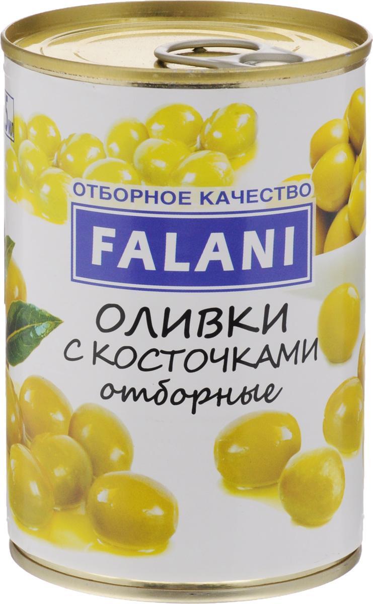 FALANI оливки отборные крупные с косточкой, 390 г4002442301659FALANI - отборные, крупные оливки с косточкой от лучших производителей Испании. Оливки богаты белками, пектинами, сахарами, витаминами: В, С, Е, Р-активными катехинами, содержат соли калия, фосфора, железа и других элементов. Кроме того, в плодах оливы найдены углеводы, фенолкарбоновые кислоты, тритерпеновые сапонины.Оливки FALANI подойдут для украшения блюд, изготовления большого количества закусок и салатов, на их основе можно приготовить разнообразные соусы, добавить в пиццу и пироги, подать как самостоятельную закуску к винам.