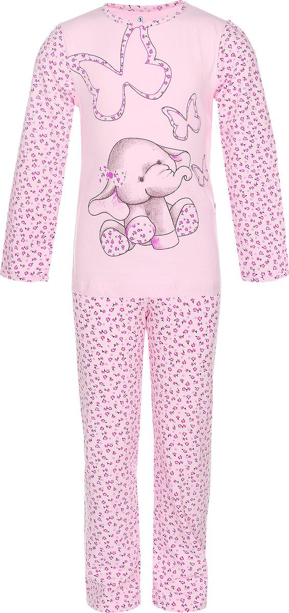 Пижама для девочки Baykar, цвет: розовый. N9021159-22. Размер 110/116N9021159-22/ N9021159A-22/N9021159B-22Мягкая пижама для девочки Baykar, состоящая из футболки с длинным рукавом и брюк, идеально подойдет ребенку для отдыха и сна. Модель выполнена из хлопка с добавлением эластана, очень приятная к телу, не сковывает движения, хорошо пропускает воздух. Футболка с круглым вырезом горловины и длинными рукавами оформлена рисунком в виде забавного слоненка. Рукава дополнены цветочным принтом. Горловина и низ рукавов обработаны эластичными бейками.Брюки на талии имеют мягкую резинку, благодаря чему они не сдавливают животик ребенка и не сползают. Изделие оформлено цветочным принтом.В такой пижаме ребенок будет чувствовать себя комфортно и уютно!