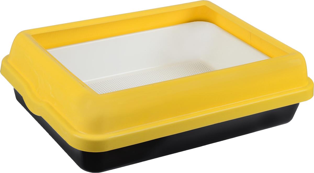 Туалет для кошек  Каскад , с бортом и сеткой, цвет: белый, желтый, черный, 55 х 42 х 16 см