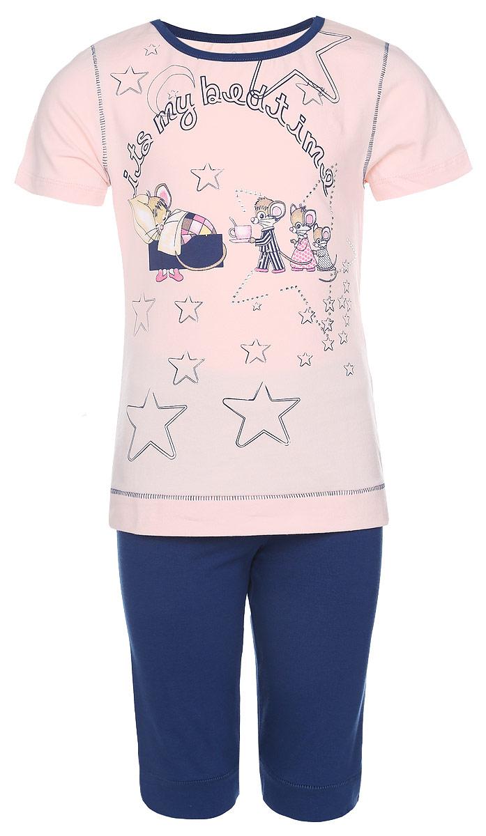 Комплект для девочки Baykar: футболка, шорты, цвет: светло-персиковый, темно-синий. N9039209-22. Размер 98/104N9039209-22Комплект одежды для девочки Baykar состоит из футболки и шорт. Модель выполнена из хлопка с добавлением эластана, очень приятная к телу, не сковывает движения, хорошо пропускает воздух. Футболка с круглым вырезом горловины и короткими рукавами оформлена оригинальным принтом и украшена стразами. Горловина обработана эластичной бейкой. Низ изделия дополнен широкой манжетой.Шорты на талии имеют мягкую резинку, благодаря чему они не сдавливают животик ребенка и не сползают. Низ изделия дополнен широкими манжетами.В таком комплекте ребенок будет чувствовать себя комфортно и уютно!