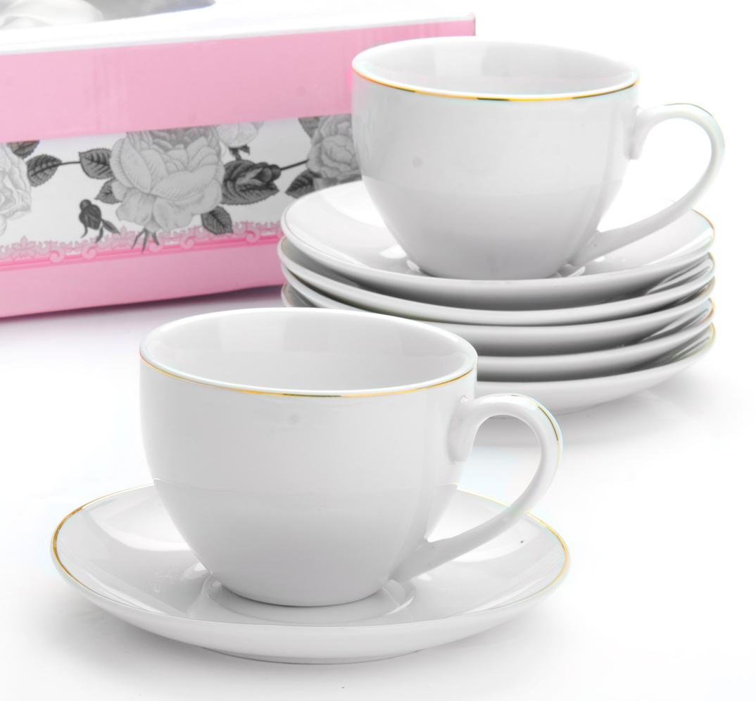 Чайный сервиз Loraine, 12 предметов, 200 мл. 2593125931Чайный сервиз на 6 персон изготовлен из качественного фарфора и оформлен золотой каймой. Сервиз состоит из 12 предметов: шести чашек и шести блюдец, упакованных в подарочную коробку. Чашки имеют удобную, изящную ручку. Диаметр чашки: 9 см.Высота чашки: 7 см.Объем чашки: 200 мл.Диаметр блюдца: 14 см.