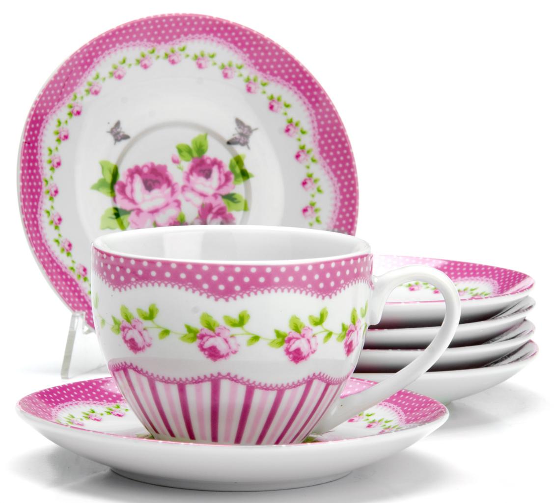 Чайный сервиз Loraine Цветы, 220 мл, 12 предметов. 2592425924Чайный сервиз на 6 персон изготовлен из качественного фарфора и оформлен красивым рисунком. Элегантный и удобный чайный сервиз не только украсит сервировку стола, но и поднимет настроение и превратит процесс чаепития в одно удовольствие.Сервиз состоит из 12 предметов: шести чашек и шести блюдец, упакованных в подарочную коробку. Чашки имеют удобную, изящную ручку.Изделия легко и просто мыть.Диаметр чашки: 9 см.Высота чашки: 7 см.Объем чашки: 220 мл.Диаметр блюдца: 14 см.