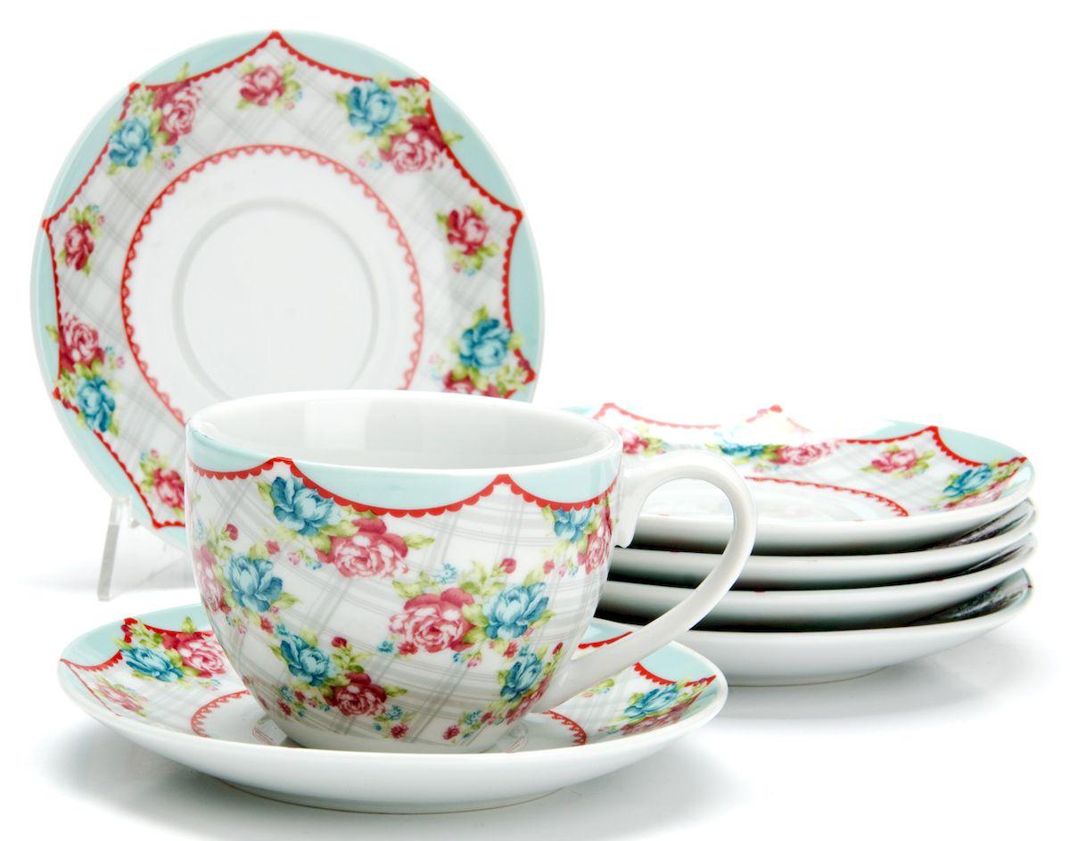 Чайный сервиз Loraine Цветы, 220 мл, 12 предметов. 25925 чайный сервиз loraine 200 мл 12 предметов 25931