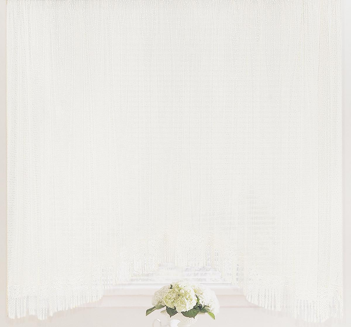 Штора-арка ТД Текстиль Капли росы, на ленте, цвет: белый, высота 165 см82650Штора-арка ТД Текстиль Капли росы великолепно украситлюбое окно. Штора выполнена из качественного сетчатогополиэстера и декорирована бахромой.Полупрозрачная ткань, оригинальный дизайн и приятнаяцветовая гамма привлекут к себе внимание и позволят штореорганично вписаться в интерьер помещения.Штора крепится на карниз при помощи шторной ленты, котораяпоможет красиво и равномерно задрапировать верх. Изделиеотлично подходит для кухни, столовой, спальни.