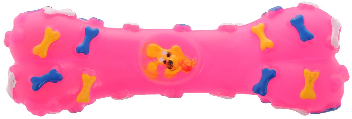 Игрушка для животных Каскад Косточка, с пищалкой, цвет: розовый, длина 16 см игрушка для животных каскад мячик пробковый диаметр 3 5 см