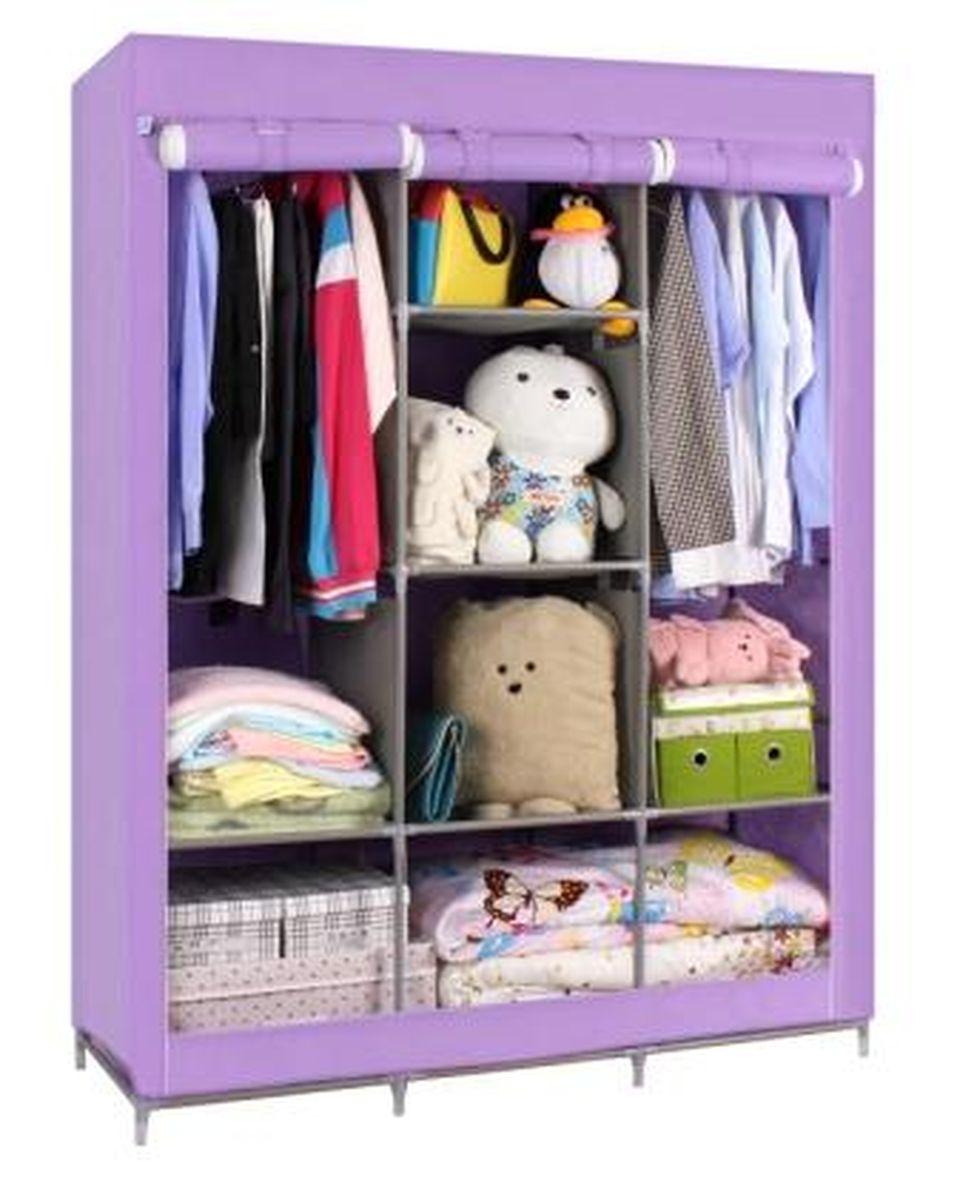 """Шкаф Homsu """"Онтарио"""" выполнен из текстиля. Сборная конструкция такого шкафа состоит из металлических деталей каркаса,  обтянутых сверху прочной и легкой тканью. Этот шкаф предназначен в создании полноценного порядка. Изделие имеет 6 полок для  складывания одежды 40 х 45 см и двумя отделениями для подвешивания одежды. Кроме своей большой практичной пользы, данный  мебельный предмет также сможет очень выгодно  дополнить имеющийся интерьер в помещении. Верхняя тканевая обивка, при этом, всегда может  быть легко и быстро снята, если ее необходимо будет постирать или заменить."""