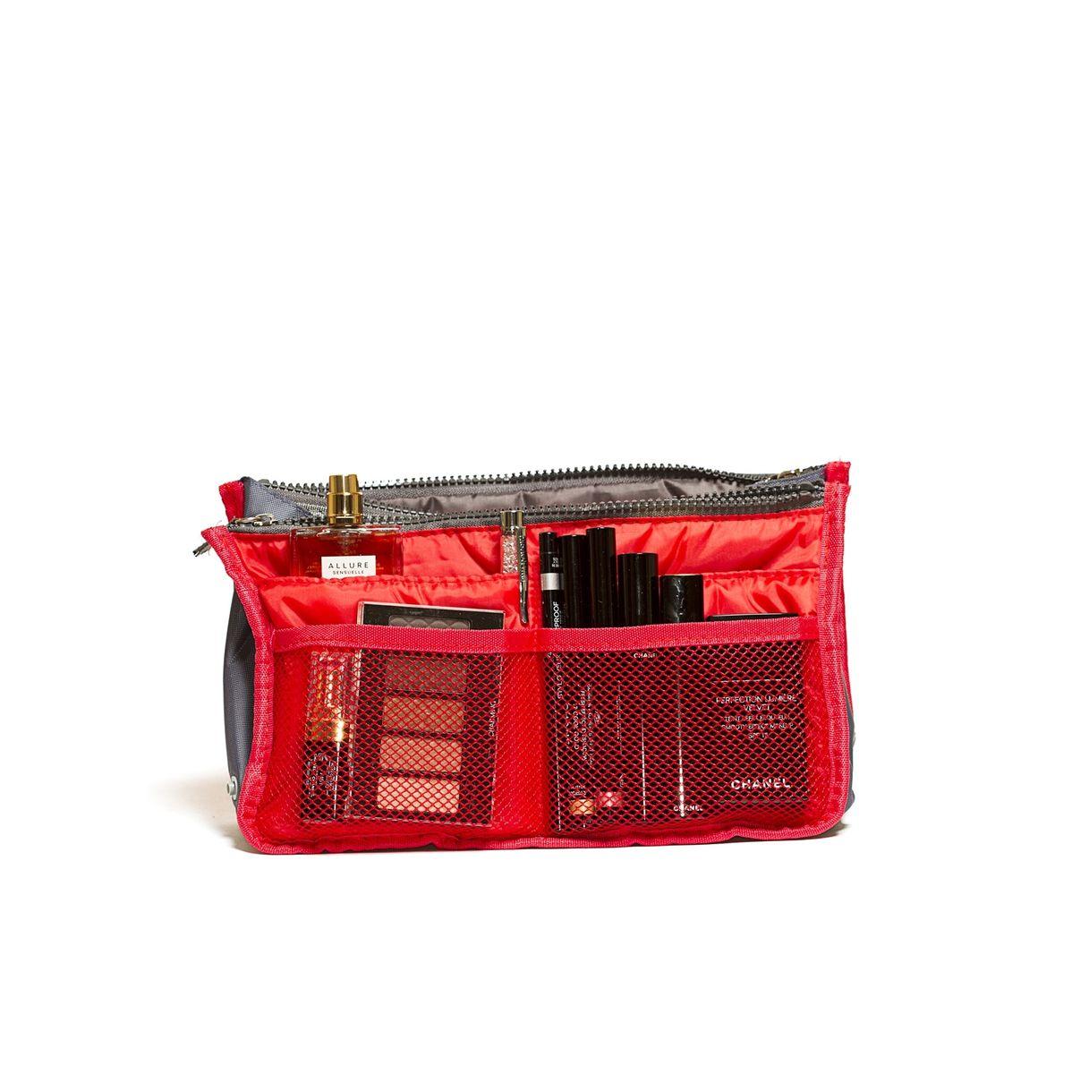 Органайзер для сумки Homsu, цвет: красный, 30 x 8,5 x 18,5 смHOM-138Этот органайзер для сумки благодаря трем вместительным отделениям для вещей, четырем кармашкам по бокам и шести кармашкам в виде сетки обеспечит полный порядок в вашей сумке. Кроме того, изделие обладает интересным стилем, выполнено в красном цвете и оснащёно двумя крепкими ручками, что позволяет применять его и вне сумки, как отдельный аксессуар. Фактический цвет может отличаться от заявленного.