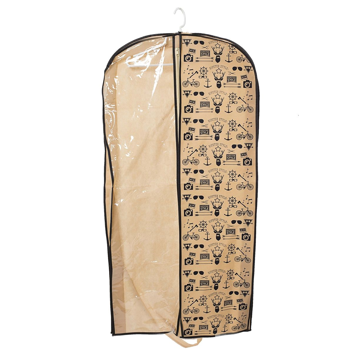 Чехол для одежды Homsu Hipster Style, подвесной, с прозрачной вставкой, 120 x 60 x 10 смHOM-202Подвесной чехол для одежды Homsu Hipster Style на застежке-молнии выполнен из высококачественного нетканого материала. Чехол снабжен прозрачной вставкой из ПВХ, что позволяет легко просматривать содержимое. Изделие подходит для длительного хранения вещей.Чехол обеспечит вашей одежде надежную защиту от влажности, повреждений и грязи при транспортировке, от запыления при хранении и проникновения моли. Чехол позволяет воздуху свободно поступать внутрь вещей, обеспечивая их кондиционирование. Это особенно важно при хранении кожаных и меховых изделий.Чехол для одежды Homsu Hipster Style создаст уютную атмосферу в гардеробе. Лаконичный дизайн придется по вкусу ценительницам эстетичного хранения и сделают вашу гардеробную изысканной и невероятно стильной.Размер чехла: 120 х 60 х 10 см.