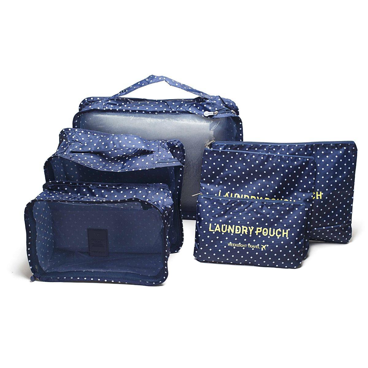 """Набор органайзеров для багажа """"Homsu"""" выполнен из полиэстера и оснащен молниями. В комплекте собраны органайзеры для  бюстгальтеров, нижнего белья, носков, одежды, косметики. Вы сможете распределить все вещи, которые возьмете с  собой таким образом, чтобы всегда иметь быстрый доступ к ним. Органайзеры надежно защитят от пыли, грязи, влажности или  механических повреждений.  Размеры органайзеров: 40 x 30 x 12 см; 30 x 28 x 13 см; 30 x 21 x 13 см; 35 x 27 см; 27 x 25 см; 26 x 16 см."""