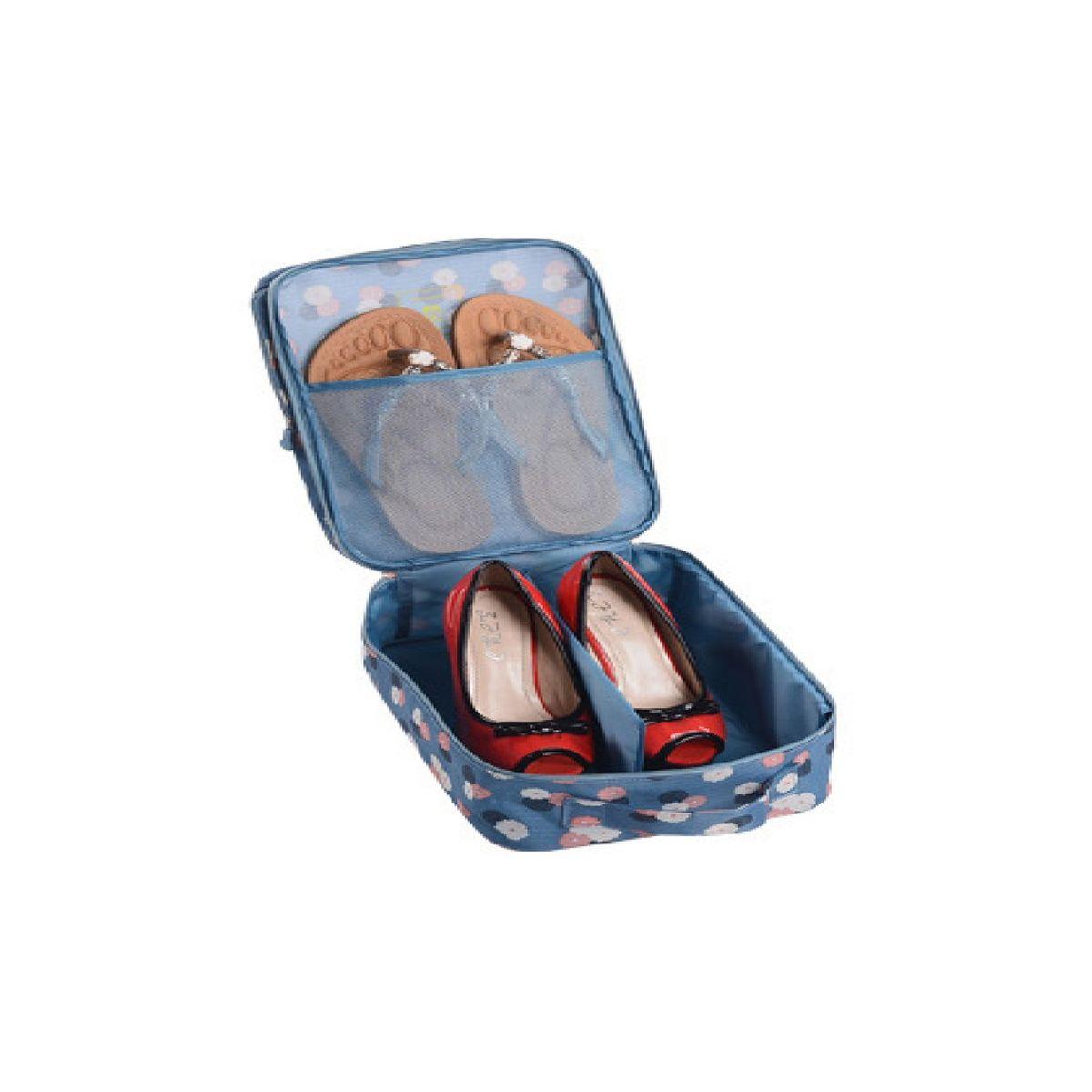 Органайзер для обуви Homsu Цветок, цвет: синий, белый, розовый, 32 x 20 x 13 смHOM-409Органайзер для обуви Homsu Цветок изготовлен из 100% полиэстера. Экономичная замена пластиковым пакетам и громоздким коробкам. Органайзер закрывается на молнию. Имеется ручка для удобной переноски. Внутри органайзер разделен на 2 отделения для обуви с дополнительным сетчатым кармашком.Очень компактный и очень удобный, такой органайзер поможет вам хранить обувь в чистоте и порядке.Размер: 32 х 20 х 13 см.