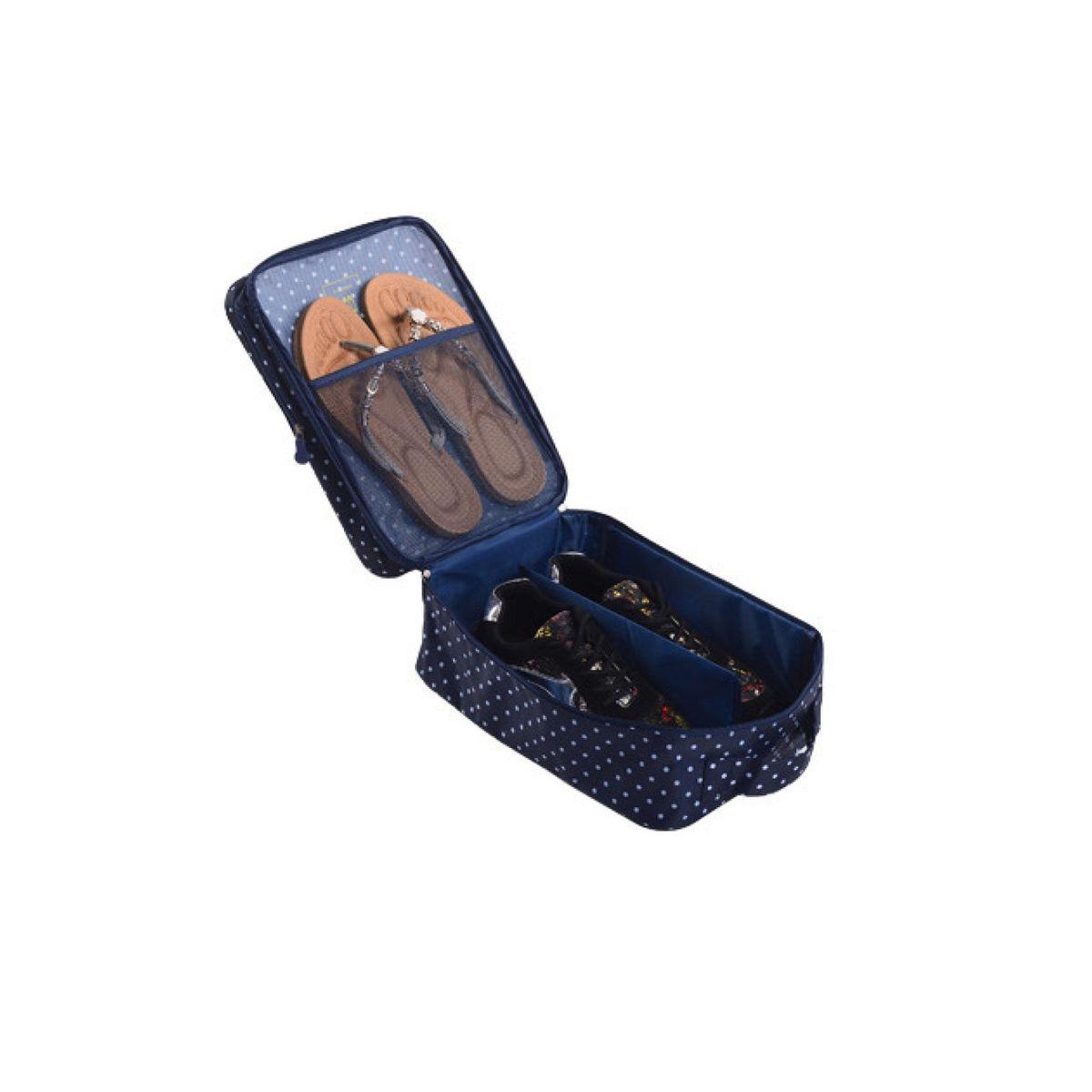 """Органайзер для обуви """"Homsu"""" изготовлен  из 100% полиэстера. Экономичная замена  пластиковым пакетам и громоздким коробкам.  Органайзер закрывается на молнию. Имеется ручка  для удобной переноски. Внутри  органайзер разделен на 2 отделения для обуви с  дополнительным сетчатым кармашком. Очень компактный и очень удобный, такой  органайзер  поможет вам хранить обувь в чистоте и порядке. Размер: 32 х 20 х 13 см."""