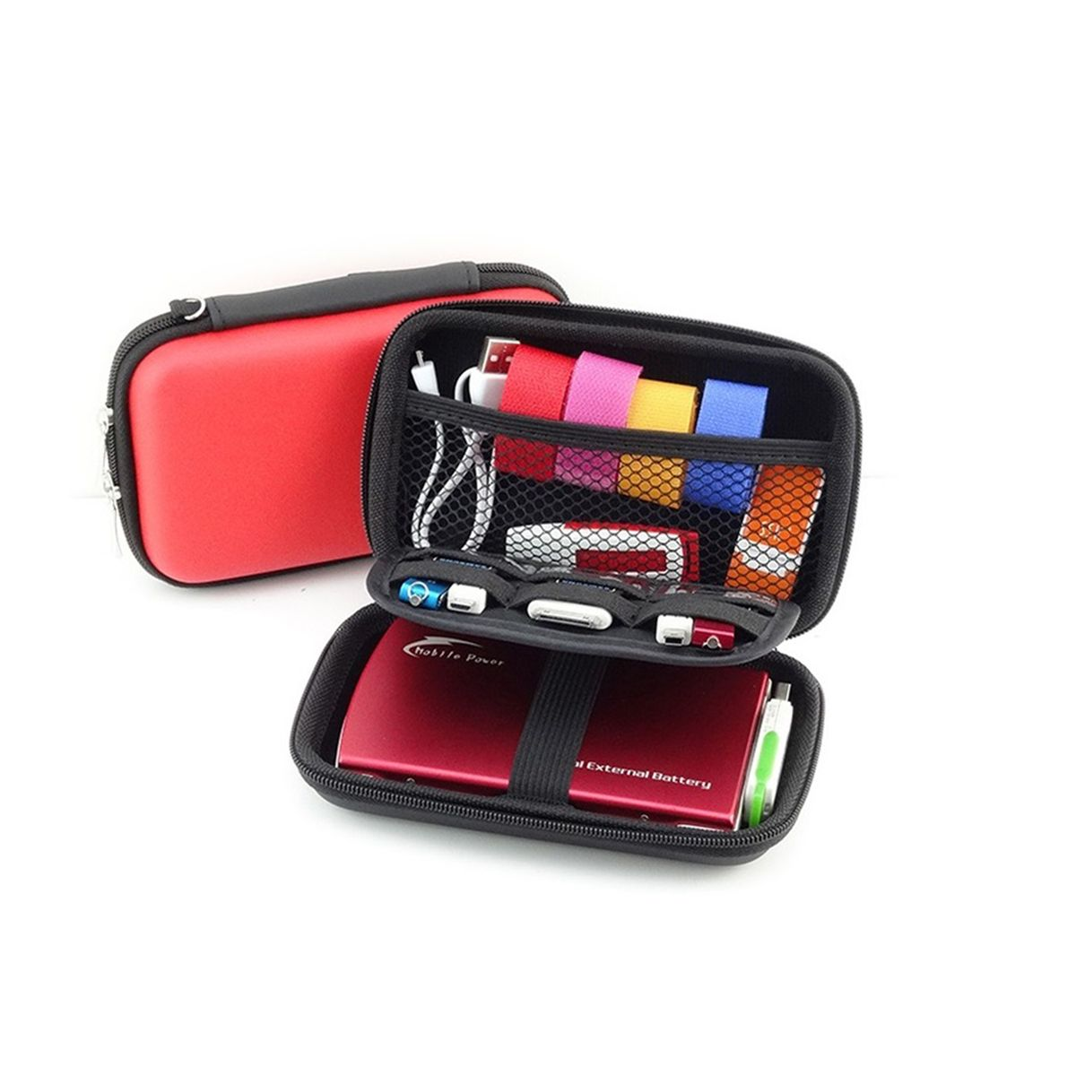 """Органайзер для проводов и аксессуаров """"Homsu"""" выполнен из полиэстера. Благодаря множеству различных кармашков и креплений, а также надежным застежкам на молниях, все необходимые вещи будут в полном порядке, защищенными от любых внешних факторов, в том числе и от дождя. Данный компактный органайзер можно легко разместить в сумке или рюкзаке, а также использовать в качестве косметички или набора по уходу."""