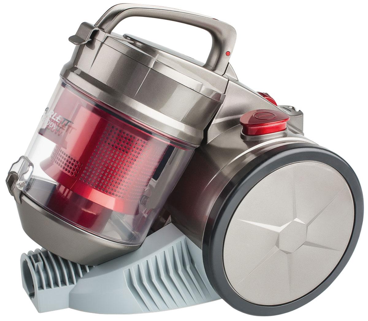 Scarlett SC-VC80C04 пылесосSC-VC80C04Компактный размер (310 х 290 мм) и легкий вес пылесоса Scarlett SC-VC80C04 позволяют использовать его для уборки комнат, лестниц в доме, а так же уборки машин. Оснащен большим контейнером для сбора пыли. Такой пылесборник легко очистить - достаточно просто высыпать содержимое в мусорное ведро. Система Мультициклон обеспечивает максимальную мощность всасывания в процессе уборки.Как выбрать пылесос. Статья OZON Гид