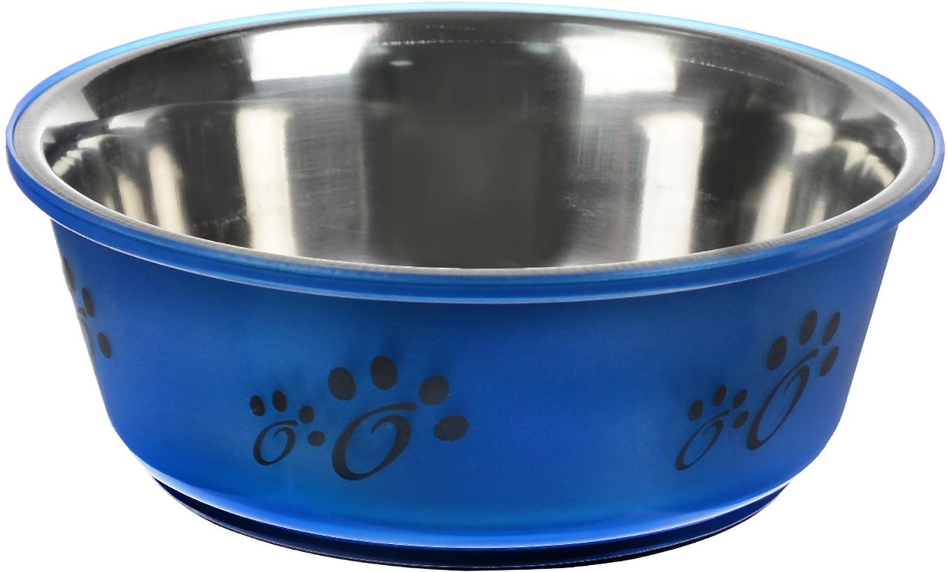 Миска для животных Каскад, цвет: синий, черный, стальной, 350 мл игрушка для животных каскад мячик пробковый диаметр 3 5 см