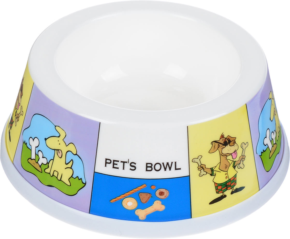 Миска для животных Каскад, цвет: белый, желтый, сиреневый, 250 мл. 8301710 игрушка для животных каскад гамбургер диаметр 7 5 см