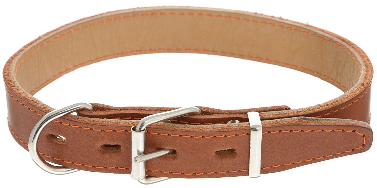 """Ошейник для собак Каскад """"Классика"""", двойной, цвет: коричневый, ширина 2,5 см, обхват шеи 39-46 см. 00025051к"""