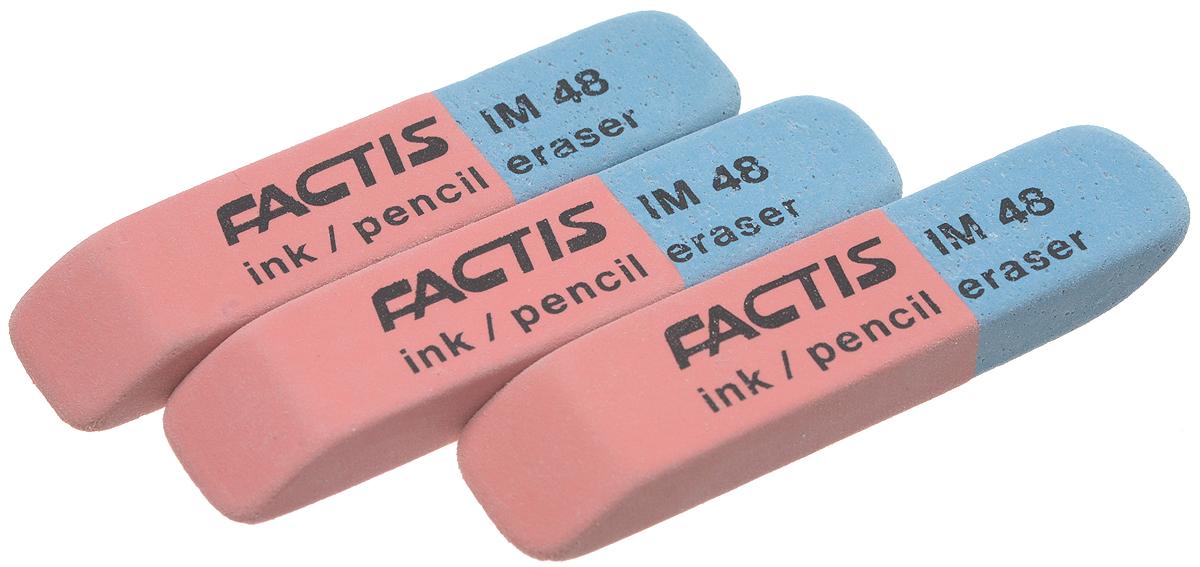 Factis Набор ластиков для грифеля и чернил 3 штEIM48/3Ластики для грифеля и чернил Factis идеально подходят для применения как в школе, так и в офисе.Ластики обеспечивают высокое качество коррекции, не повреждают поверхность бумаги, даже при сильном трении, не оставляют следов.Абсолютно безопасны, не токсичны и экологичны.В упаковке 3 ластика.