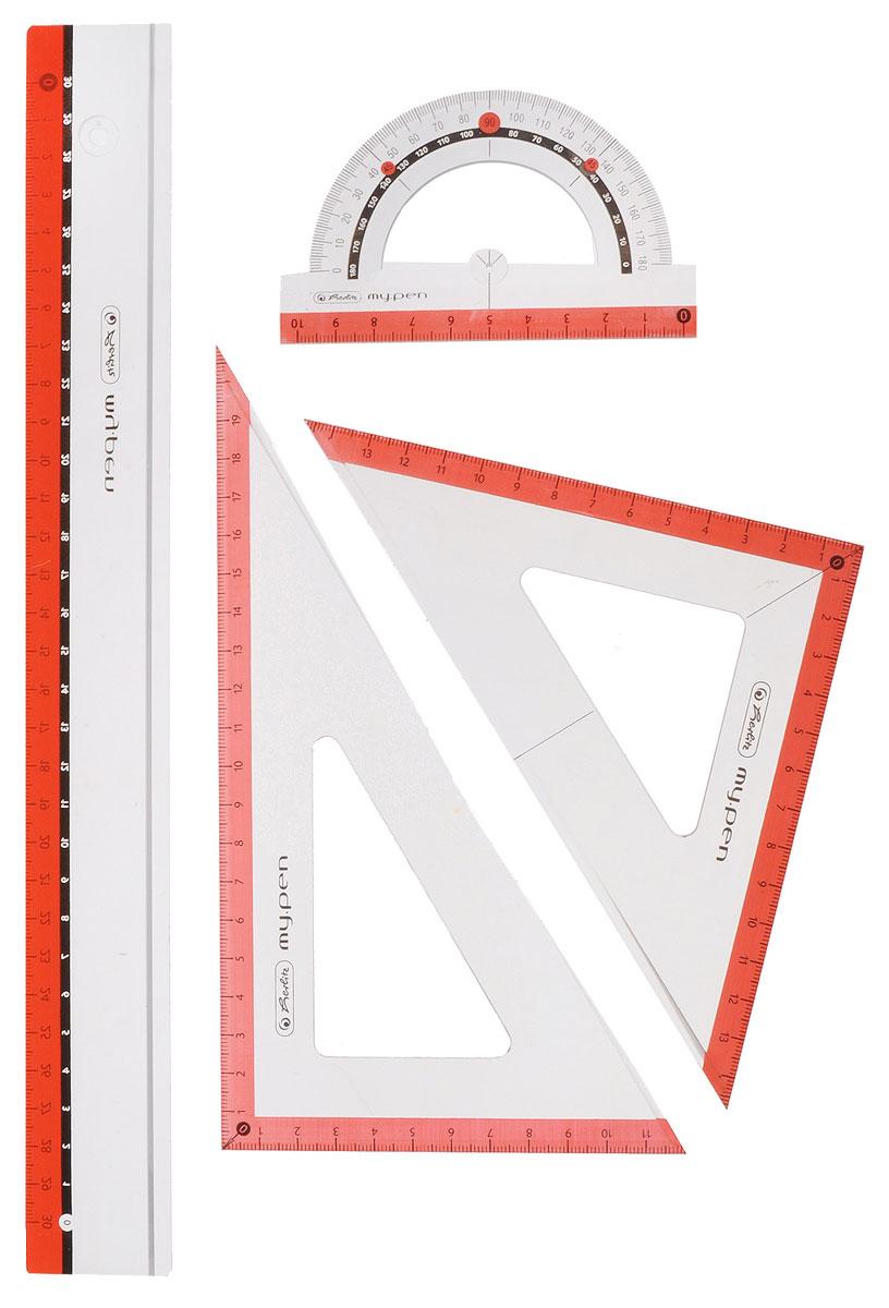 Herlitz Геометрический набор цвет коралловый 4 предмета - Чертежные принадлежности