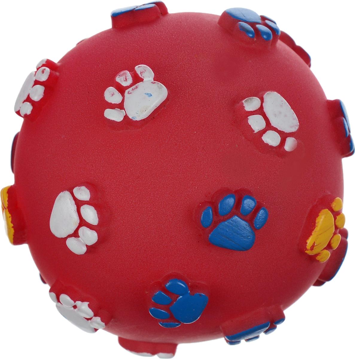 Игрушка для животных Каскад Мяч. Лапки, с пищалкой, цвет: красный, синий, желтый, диаметр 9 см игрушка для животных каскад мячик пробковый цвет зеленый 3 5 см