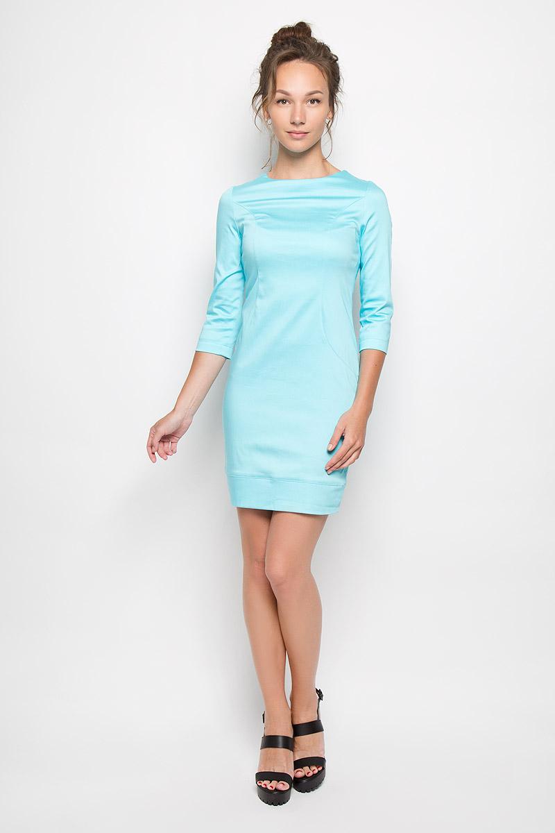 Платье Milana Style, цвет: голубой. 10416. Размер XXXL (54)10416Яркое платье-миди Milana Style поможет создать оригинальный женственный образ. Выполненное из хлопка с добавлением полиамида, оно очень приятное на ощупь, не сковывает движений и хорошо вентилируется.Модель с круглым вырезом горловины и рукавами 3/4 сзади застегивается на потайную застежку-молнию.Такое платье станет модным и стильным дополнением к вашему гардеробу!