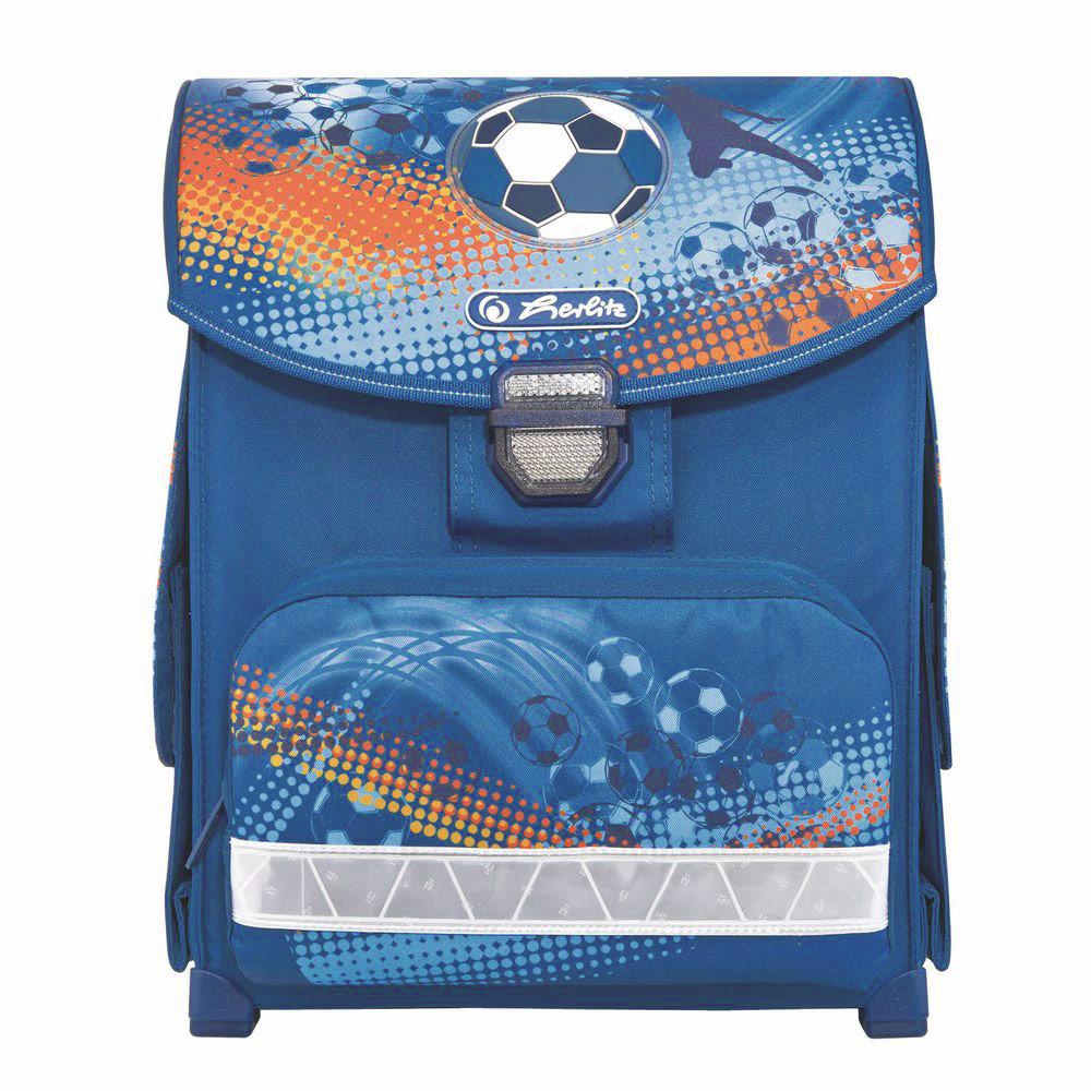 Herlitz Ранец школьный Soccer11438371Школьный ранец Herlitz Soccer обязательно привлечет внимание вашего школьника. Выполнен ранец из материалов высшего качества с водоотталкивающей пропиткой.Содержит одно вместительное отделение, закрывающееся клапаном на замок-защелку. Внутри отделения имеется мягкая перегородка для тетрадей или учебников. Клапан полностью откидывается, что существенно облегчает пользование ранцем. На внутренней части клапана находится прозрачный пластиковый кармашек, в который можно поместить расписание занятий. Ранец имеет два боковых кармана, закрывающиеся клапанами на липучке. Лицевая сторона ранца оснащена накладным карманом на застежке-молнии. Конструкция спинки дополнена эргономичнымиподушечками, противоскользящей сеточкой и системой вентиляции для предотвращения запотевания спины ребенка. Мягкие широкие лямки позволяют легко и быстро отрегулировать изделие в соответствии с ростом. Ранец оснащен эргономичной ручкой для удобной переноски в руке. Пластиковые ножки на дне ранца обеспечивает хорошую устойчивость и защиту от загрязнений. Светоотражающие элементы придают дополнительную безопасность в темное время суток.Многофункциональный школьный ранец станет незаменимым спутником вашего ребенка в походах за знаниями.Вес ранца без наполнения: 1 кг.Рекомендуемый возраст: от 6 лет.