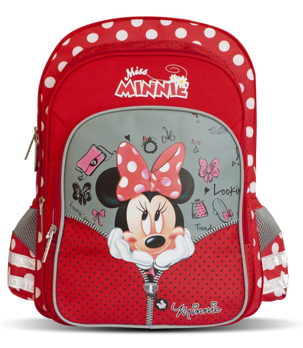 Disney Рюкзак детский Miss Minnie29134Детский рюкзак Disney Miss Minnie идеален для начальной школы.Рюкзак имеет одно вместительное отделение, закрывающееся на застежку-молнию. Внутри отделения находится мягкая перегородка для учебников или тетрадей, которая фиксируется хлястиком на липучке. Дно рюкзака можно сделать более устойчивым, разложив специальную панель. На лицевой стороне размещается большой карман на молнии, внутри которого находятся четыре небольших открытых кармашка. За этим карманом располагается еще один карман на молнии, подходящий для тетрадей формата А4. Два боковых кармашка на резинках пригодятся для мелких предметов.Удобная ортопедическая спинка, созданная по специальной технологии из дышащего плотного и мягкого поролона, равномерно распределяет нагрузку на позвоночник. Мягкие анатомические регулируемые лямки оберегают плечи ребенка от натирания. Светоотражающие элементы, расположенные на лямках и карманах, повышают безопасность ребенка на дороге в темное время суток. Рюкзак имеет прорезиненную ручку, удобную для переноски рюкзака в руке или размещения на вешалке. Аксессуар декорирован изображением знаменитой Минни Маус.