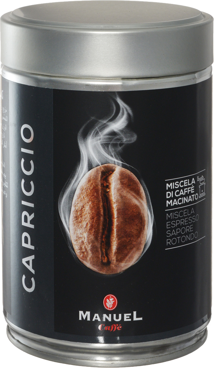 Manuel Capriccio кофе молотый, 250 г (ж/б)8006536201029Manuel Capriccio - лучшая смесь для приготовления кофе на профессиональном оборудовании. Manuel Capriccio - бодрящий продукт, прошедший темную обжарку, в результате которой в его вкусе появились нюансы какао и пикантная горчинка. Этот кофе будет идеальной основой для создания эспрессо и капучино.Кофе: мифы и факты. Статья OZON Гид