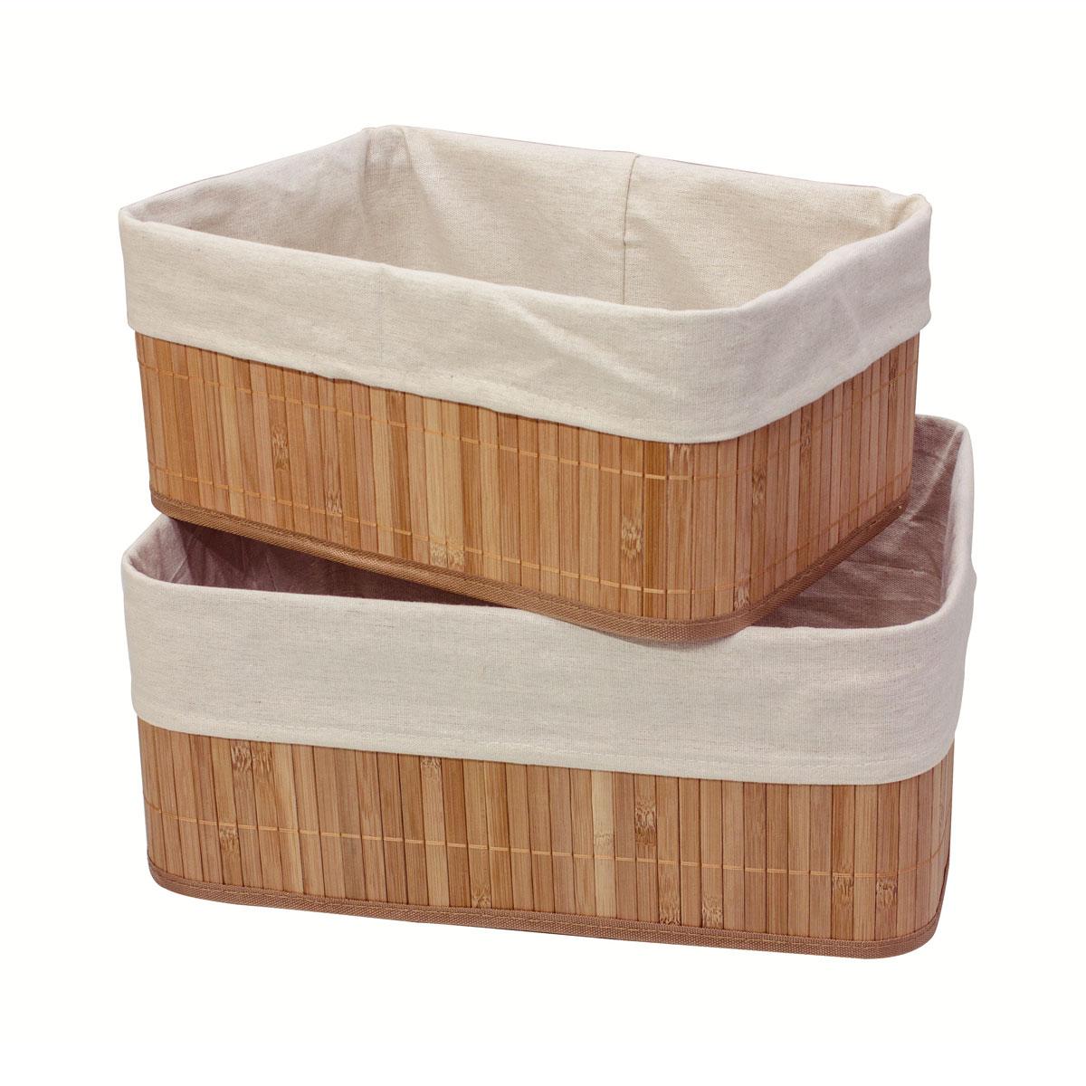 """Марка Ecowoo предлагает новое удобное решение для хранения полезных мелочей - набор универсальных коробов из бамбука Ecowoo """"Нежность"""". Прекрасная вместительность, экологичный материал и актуальный дизайн - все эти достоинства делают набор незаменимым в любом доме. Размер коробов: 33 х 23 х 14 см; 38 х 28 х 16 см."""