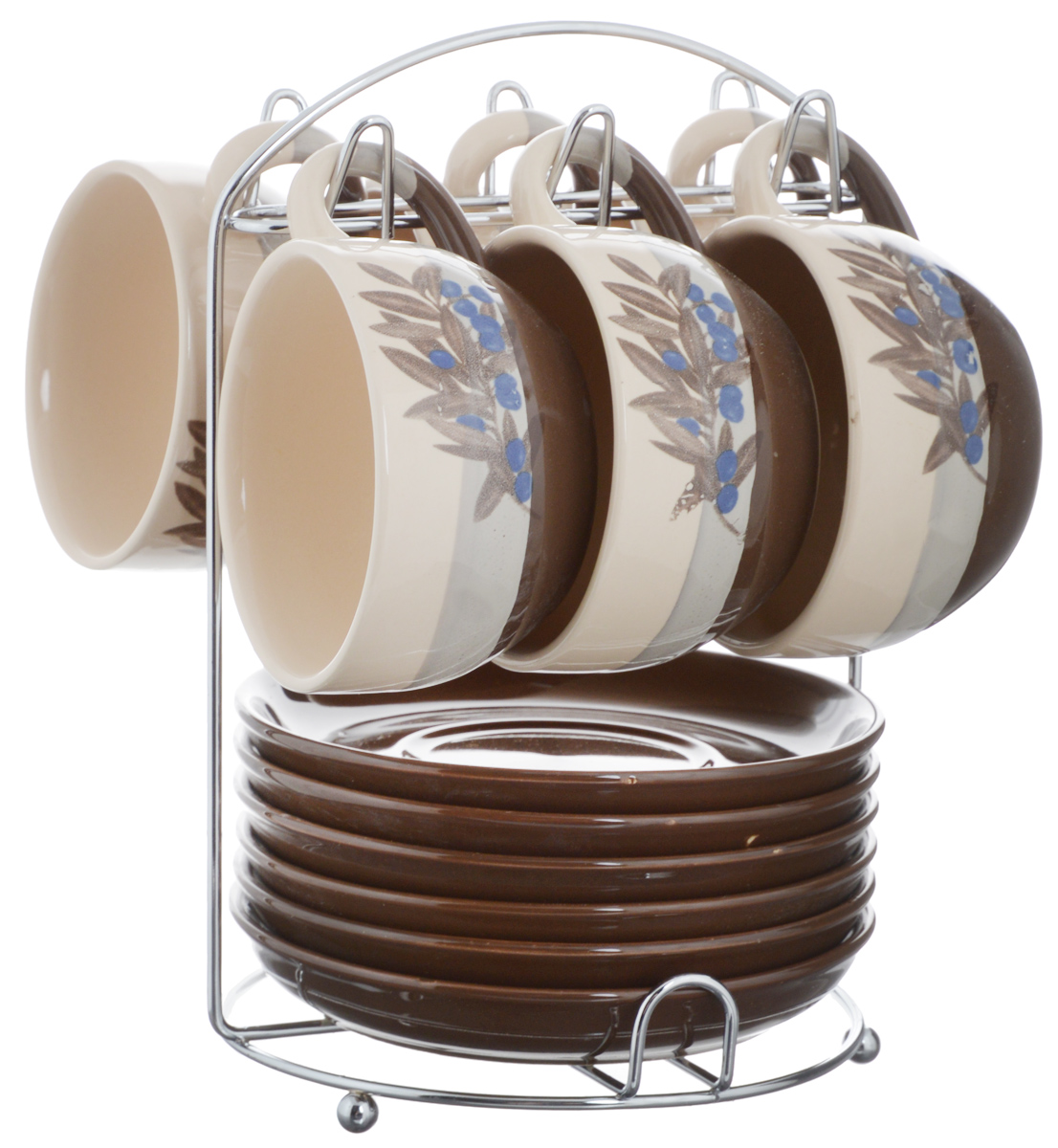 Набор чайный Calve. Маслины, на подставке, 13 предметовCL-2022Набор Calve. Маслины состоит из шести чашек и шести блюдец, изготовленных из высококачественного фарфора. Чашки оформлены ярким принтом. Изделия расположены на металлической подставке. Такой набор подходит для подачи чая или кофе. Изящный дизайн придется по вкусу и ценителям классики, и тем, кто предпочитает утонченность и изысканность. Он настроит на позитивный лад и подарит хорошее настроение с самого утра. Чайный набор Calve - идеальный и необходимый подарок для вашего дома и для ваших друзей в праздники.Можно мыть в посудомоечной машине. Объем чашки: 220 мл. Диаметр чашки (по верхнему краю): 9,5 см. Высота чашки: 6,3 см. Диаметр блюдца: 14,5 см. Высота блюдца: 2,3 см.Размер подставки: 16,5 х 16 х 22,5 см.