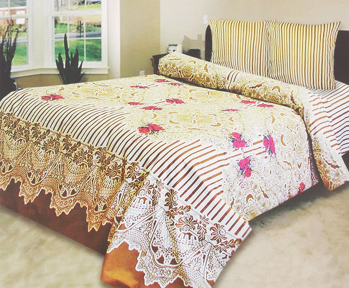 Комплект белья Катюша Ришелье, 1,5-спальный, наволочки 70х70, цвет: светло-желтый, коричневый, красныйC-129/3855Комплект постельного белья Катюша Ришелье является экологически безопасным для всей семьи, так как выполнен из бязи (100% хлопок). Комплект состоит из пододеяльника, простыни и двух наволочек. Постельное белье оформлено оригинальным рисунком и имеет изысканный внешний вид.Бязь - это ткань полотняного переплетения, изготовленная из экологически чистого и натурального 100% хлопка. Она прочная, мягкая, обладает низкой сминаемостью, легко стирается и хорошо гладится. Бязь прекрасно пропускает воздух и за ней легко ухаживать. При соблюдении рекомендуемых условий стирки, сушки и глажения ткань имеет усадку по ГОСТу, сохранятся яркость текстильных рисунков. Приобретая комплект постельного белья Катюша Ришелье, вы можете быть уверенны в том, что покупка доставит вам и вашим близким удовольствие иподарит максимальный комфорт.